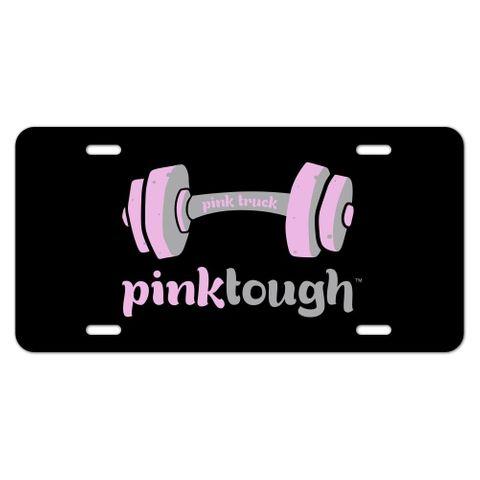 Pink Tough Barbell Cancer Logo Novelty Metal Vanity Tag License Plate
