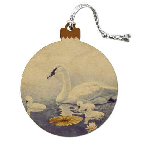 Swan Family on the Lake Wood Christmas Tree Holiday Ornament