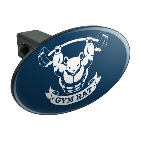 Gym Rat Workout Weight Lifting Oval Tow Trailer Hitch Cover Plug Insert