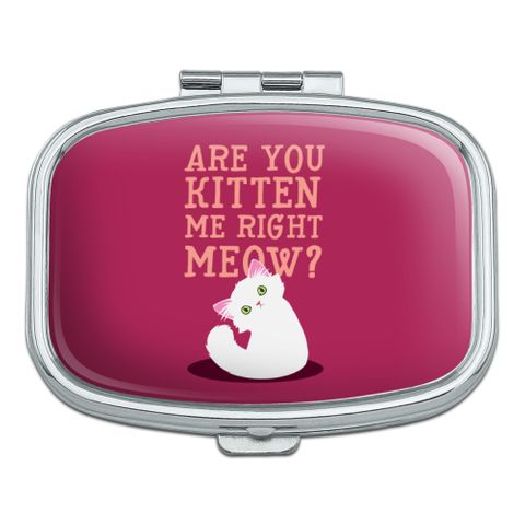 Are You Kitten Me Right Meow Cat Rectangle Pill Case Trinket Gift Box