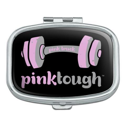 Pink Tough Barbell Cancer Logo Rectangle Pill Case Trinket Gift Box