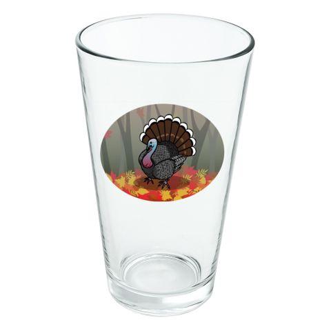Turkey Thanksgiving Autumn Novelty 16oz Pint Drinking Glass Tempered
