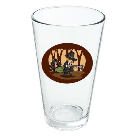 Pilgrim Turkey Thanksgiving Hunting Novelty 16oz Pint Drinking Glass Tempered