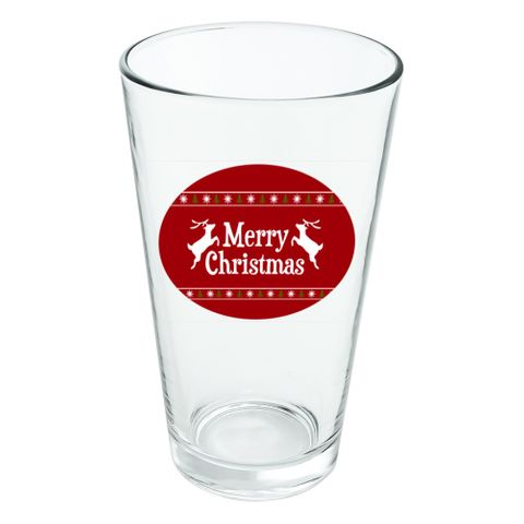 Merry Christmas Holiday Reindeer Novelty 16oz Pint Drinking Glass Tempered