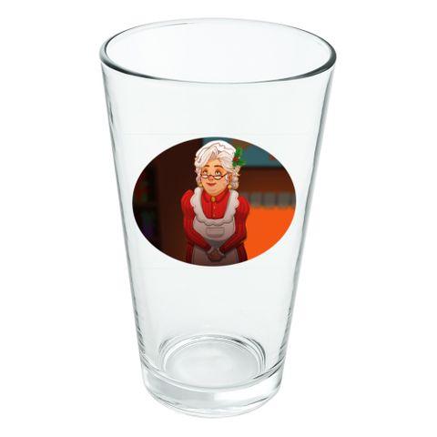 Mrs Claus with Mistletoe Santa Christmas Holiday Novelty 16oz Pint Drinking Glass Tempered