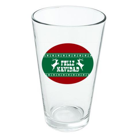 Feliz Navidad with Deer Merry Christmas Novelty 16oz Pint Drinking Glass Tempered