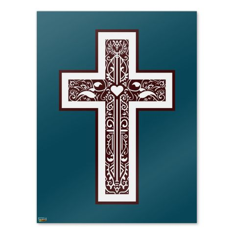 Cross with Heart Christianity Home Business Office Sign