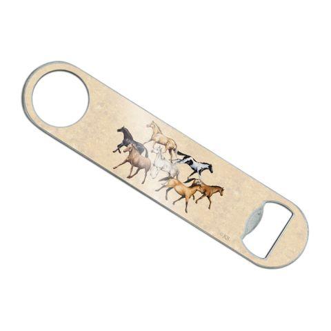 Horses of Different Colors Stainless Steel Vinyl Covered Flat Bartender Speed Bar Bottle Opener