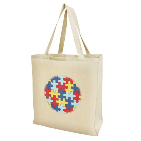 Autism Awareness Diversity Puzzle Pieces Grocery Travel Reusable Tote Bag