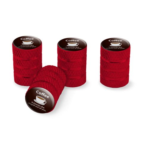 Coffee Knocks the Stupid Out of You Funny Tire Rim Wheel Aluminum Valve Stem Caps