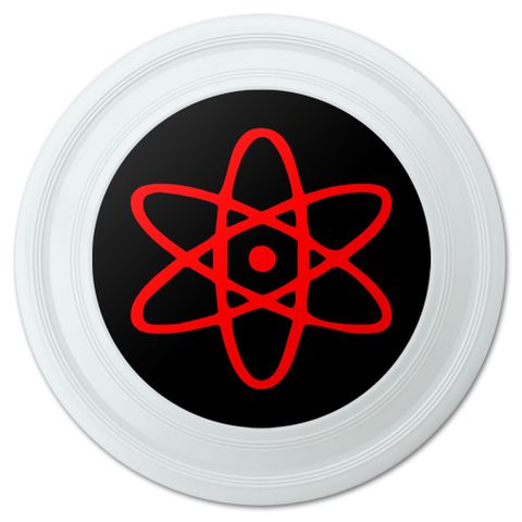 "Atomic Symbol Red Black Novelty 9"" Flying Disc"