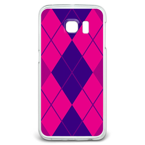 Argyle Hipster Purple Fuchsia - Preppy Galaxy S6 Edge Case