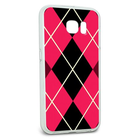 Protective Slim Hybrid Rubber Bumper Case for Galaxy S6 Argyle Hipster Pattern - Pink - Preppy