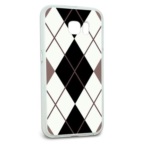 Protective Slim Hybrid Rubber Bumper Case for Galaxy S6 Argyle Hipster Pattern - Black White - Preppy