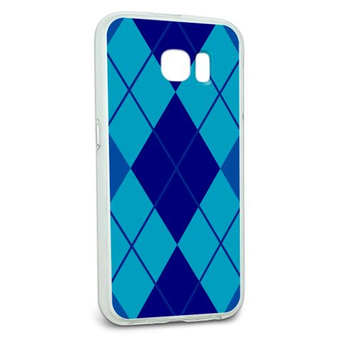 Protective Slim Hybrid Rubber Bumper Case for Galaxy S6 Argyle Hipster Pattern - Blue - Preppy