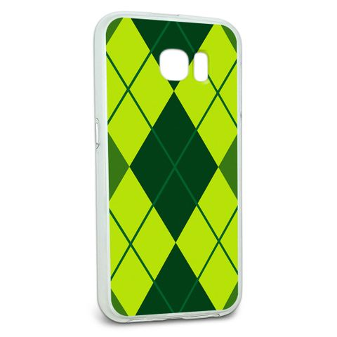 Protective Slim Hybrid Rubber Bumper Case for Galaxy S6 Argyle Hipster Pattern - Green - Preppy