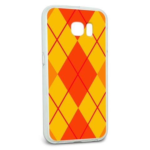 Protective Slim Hybrid Rubber Bumper Case for Galaxy S6 Argyle Hipster Pattern - Orange - Preppy