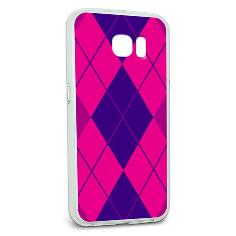 Protective Slim Hybrid Rubber Bumper Case for Galaxy S6 Argyle Hipster Pattern - Purple Fuchsia - Preppy