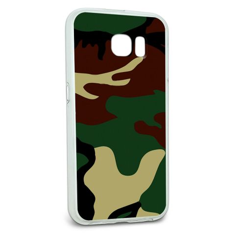 Protective Slim Hybrid Rubber Bumper Case for Galaxy S6 Camouflage Camo Patterns - Camouflage Army Soldier