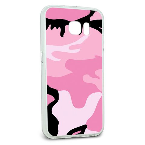 Protective Slim Hybrid Rubber Bumper Case for Galaxy S6 Camouflage Camo Patterns - Pink Camouflage Army Soldier