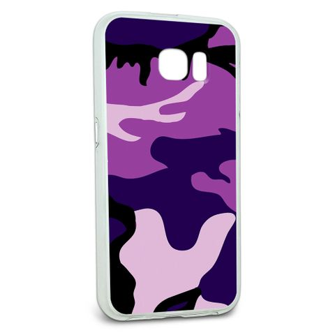 Protective Slim Hybrid Rubber Bumper Case for Galaxy S6 Camouflage Camo Patterns - Purple Camouflage Army Soldier