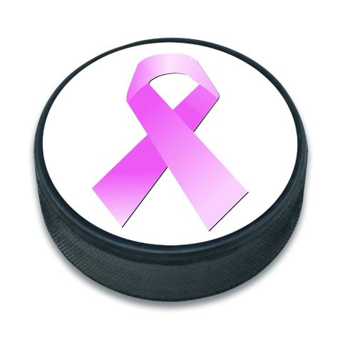 Breast Cancer Pink Ribbon Ice Hockey Puck