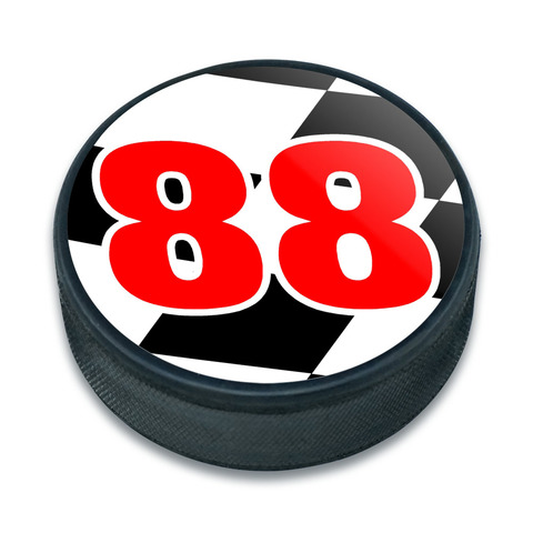 88 Number Checkered Flag Ice Hockey Puck