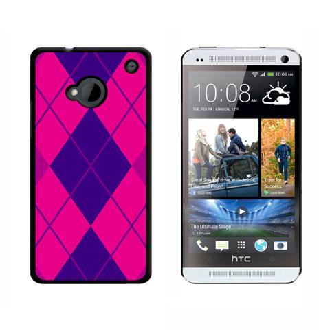 Argyle Hipster Purple Fuchsia HTC One Case
