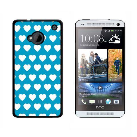 Sweet Heart Pattern Blue White HTC One Case