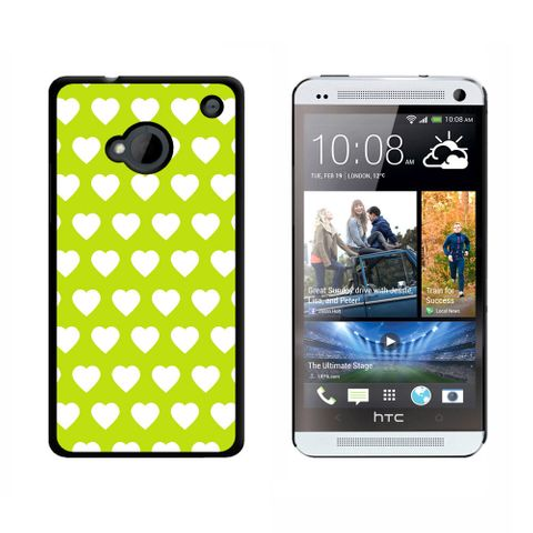 Sweet Heart Pattern Green White HTC One Case
