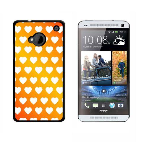 Sweet Heart Pattern Orange White HTC One Case