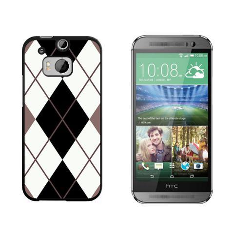 Argyle Hipster Black White - Preppy HTC One M8 Case
