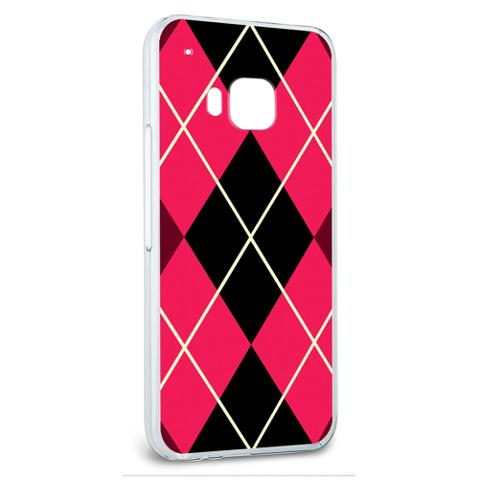 Snap On Protective Slim Hard Case for HTC One M9 Argyle Hipster Pattern - Pink - Preppy