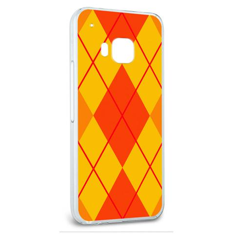 Snap On Protective Slim Hard Case for HTC One M9 Argyle Hipster Pattern - Orange - Preppy