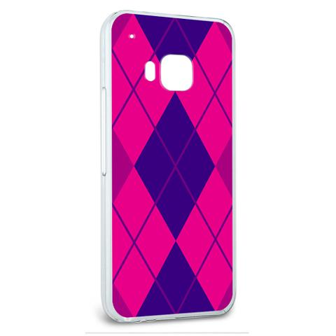Snap On Protective Slim Hard Case for HTC One M9 Argyle Hipster Pattern - Purple Fuchsia - Preppy