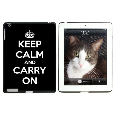 Keep Calm and Carry On Black Apple iPad Case