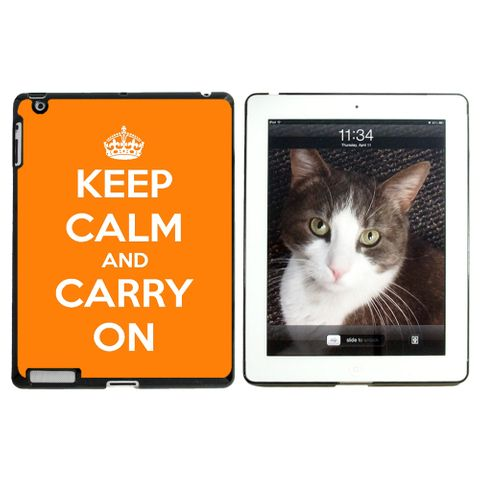 Keep Calm and Carry On Orange Apple iPad Case