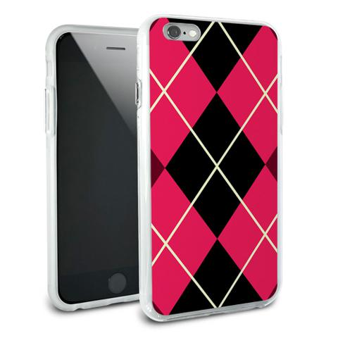 Argyle Hipster Pink - Preppy Snap On Protective Slim Hybrid Rubber Bumper Case for Apple iPhone 6/6s Plus