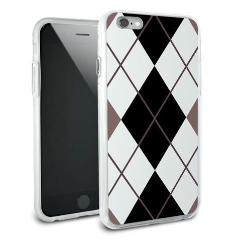 Argyle Hipster Black White - Preppy Snap On Protective Slim Hybrid Rubber Bumper Case for Apple iPhone 6/6s Plus