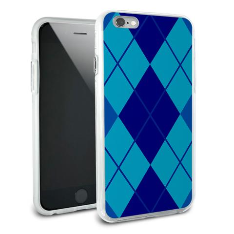 Argyle Hipster Blue - Preppy Snap On Protective Slim Hybrid Rubber Bumper Case for Apple iPhone 6/6s Plus