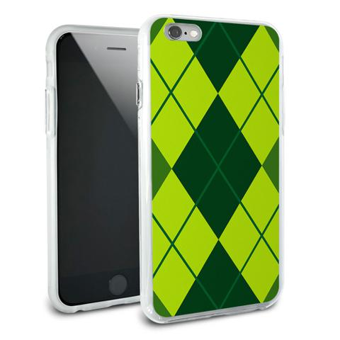 Argyle Hipster Green - Preppy Snap On Protective Slim Hybrid Rubber Bumper Case for Apple iPhone 6/6s Plus