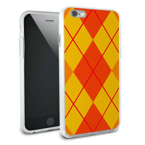 Argyle Hipster Orange - Preppy Snap On Protective Slim Hybrid Rubber Bumper Case for Apple iPhone 6/6s Plus