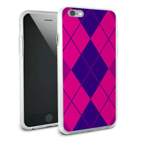 Argyle Hipster Purple Fuchsia - Preppy Snap On Protective Slim Hybrid Rubber Bumper Case for Apple iPhone 6/6s Plus