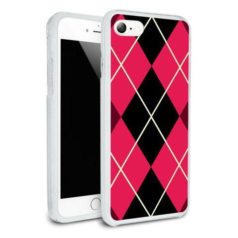 Argyle Hipster Pink - Preppy Protective Slim Hybrid Rubber Bumper Case for Apple iPhone 7
