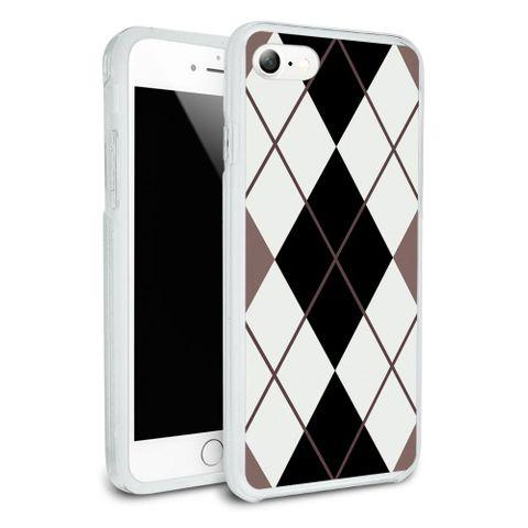 Argyle Hipster Black White - Preppy Protective Slim Hybrid Rubber Bumper Case for Apple iPhone 7