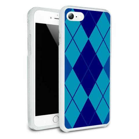 Argyle Hipster Blue - Preppy Protective Slim Hybrid Rubber Bumper Case for Apple iPhone 7