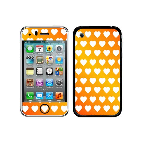 Sweet Heart Pattern Orange White iPhone 3G/3GS Skin