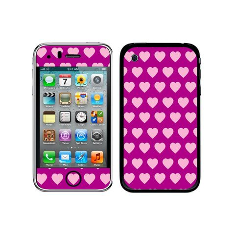 Sweet Heart Pattern Fuchsia iPhone 3G/3GS Skin