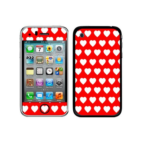 Sweet Heart Pattern Red iPhone 3G/3GS Skin
