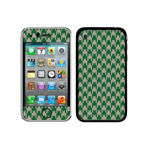 Preppy Houndstooth Green Gray iPhone 3G/3GS Skin